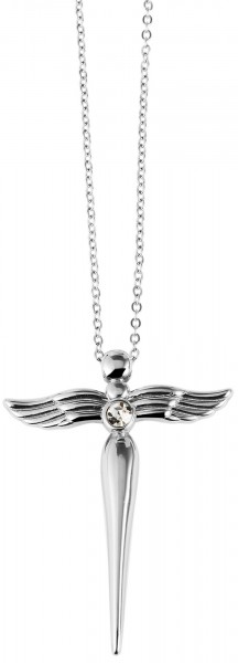 Edelstahl Kette mit Engel Kreuz Anhänger Schutzengel silber45 cm