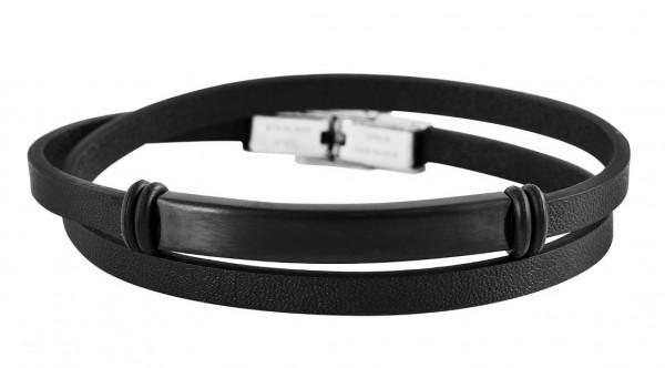 Wickelarmband aus Echtleder und Edelstahl schwarz
