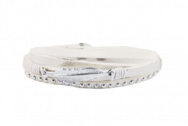 Wickelarmband mit Feder und Nieten weiß