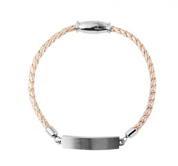 Echt Leder Armband mit persönlicher Gravur roségold