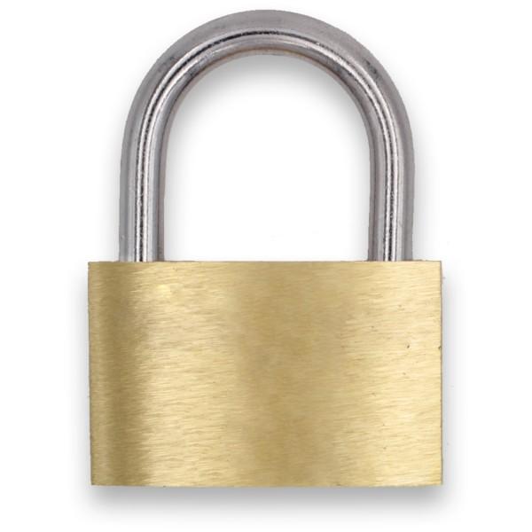 B-WARE Liebesschloss Messing mit Gravur und 3 Schlüssel 50mm