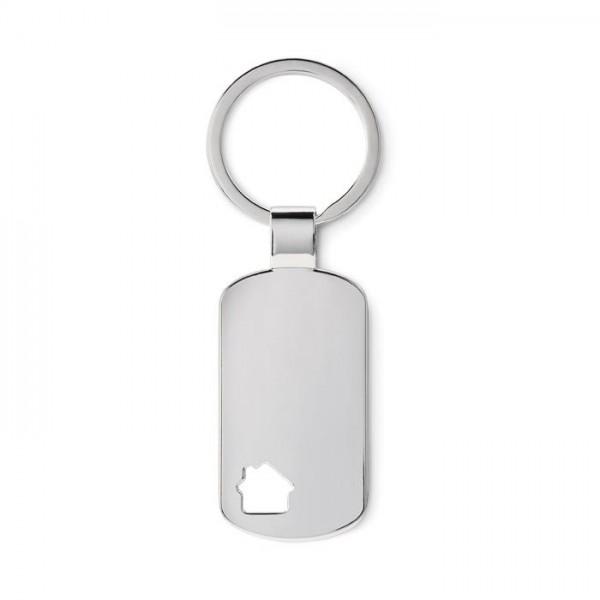 Dog Tag Schlüsselanhänger mit ausgestanztem Haus & Gravur
