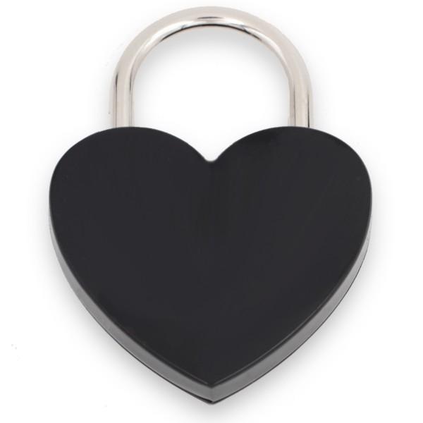 Liebesschloss schwarz in Herzform