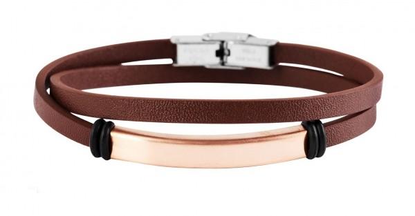 Wickelarmband aus Echtleder und Edelstahl braun/roségold