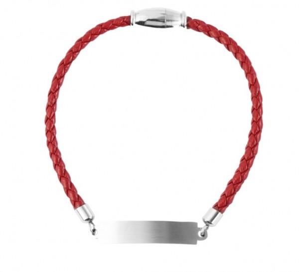 Echt Leder Armband mit persönlicher Gravur rot