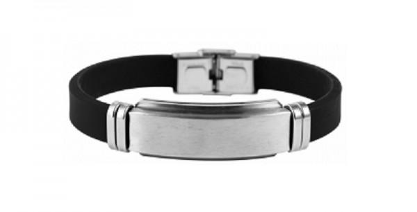 Armband aus Kautschuk und Edelstahl Gravurplatte mit Gravur