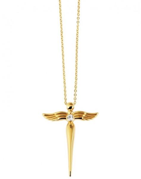 Edelstahl Kette mit Engel Kreuz Anhänger Schutzengel gold 45 cm
