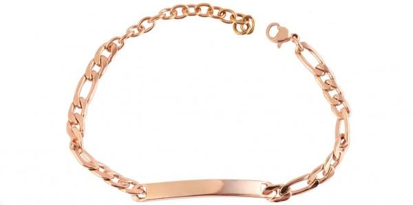 Damen Armband aus Edelstahl mit Gravurplatte roségold
