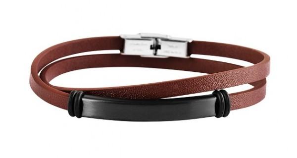 Wickelarmband aus Echtleder und Edelstahl braun/schwarz