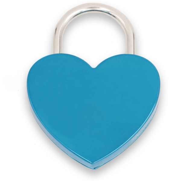 Liebesschloss blau mit Gravur