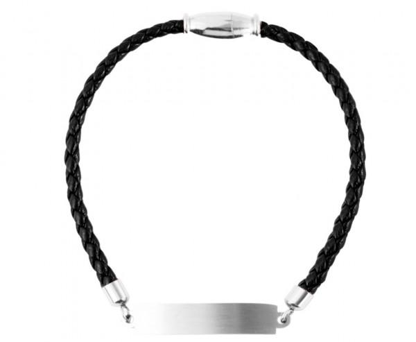 Echt Leder Armband mit persönlicher Gravur schwarz