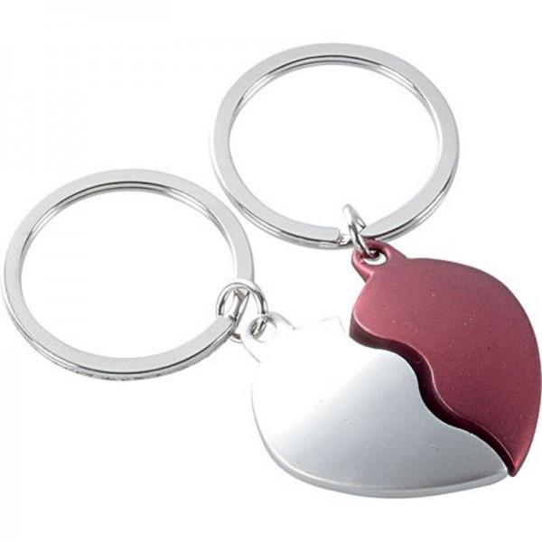 Schlüsselanhänger Set silber/rot mit Gravur