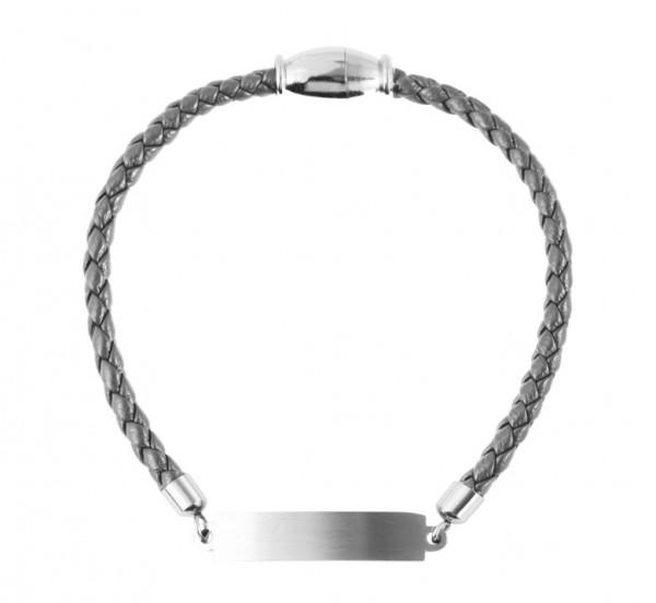 Echt Leder Armband mit persönlicher Gravur grau