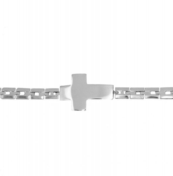 B-WARE Armband mit Kreuz aus Edelstahl