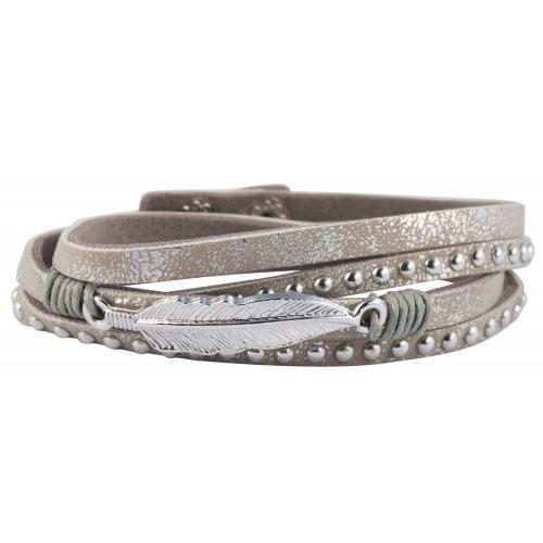Wickelarmband mit Feder und Nieten grau/silber