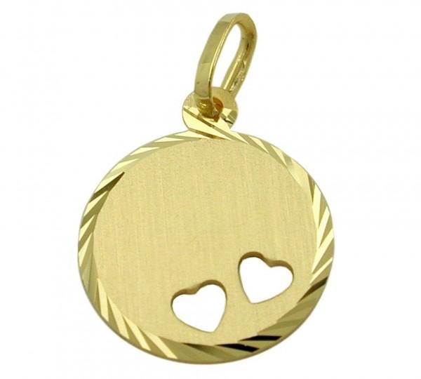 Anhänger aus 375/9Kt Gold mit Herzen & Gravur