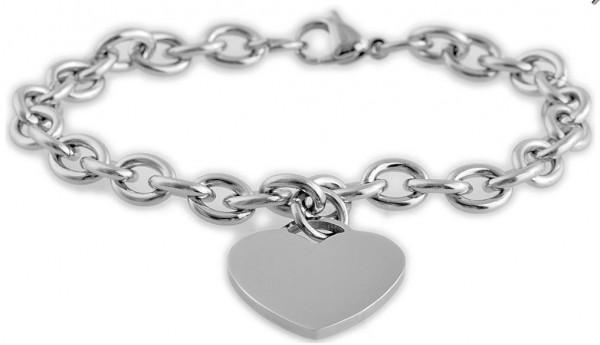 B-WARE Edelstahl Armband mit Herzanhänger und Gravur